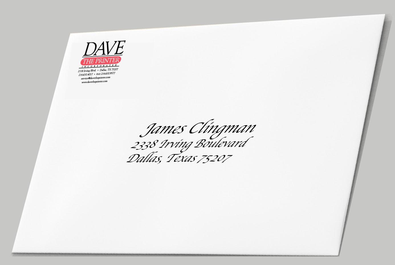 Envelope Printed By Dave The Printer